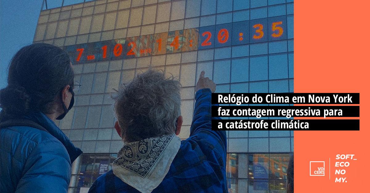 Relógio do Clima em Nova York faz contagem regressiva para a catástrofe climática